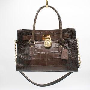 Michael Kors Hamilton Brown Crocodile Bag